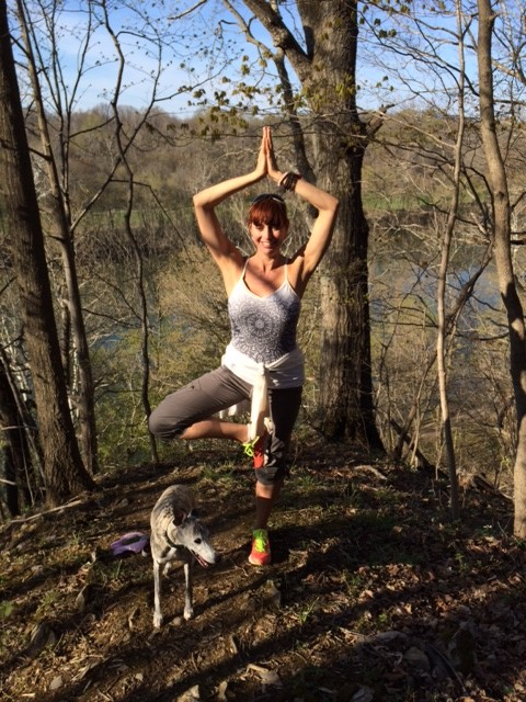 tree pose at C&O canal, WV while hiking with my sister Margaret & her husband, Dan